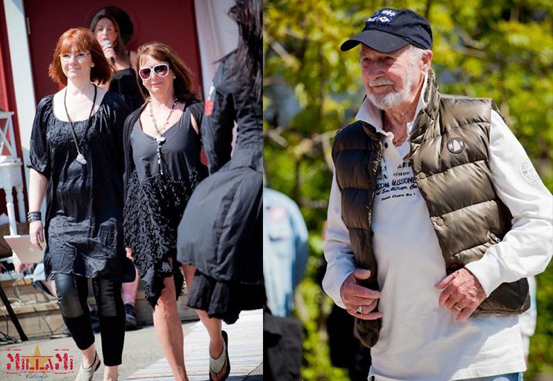 Maria & Lena går i fräcka kläder från märket NELLY. Farfar Erik strålar som vanligt.